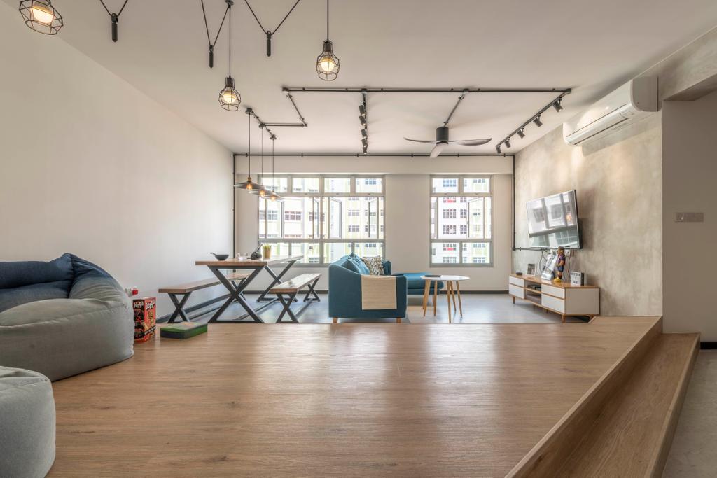 Contemporary, HDB, Living Room, Yishun Ring Road, Interior Designer, Fifth Avenue Interior, Industrial