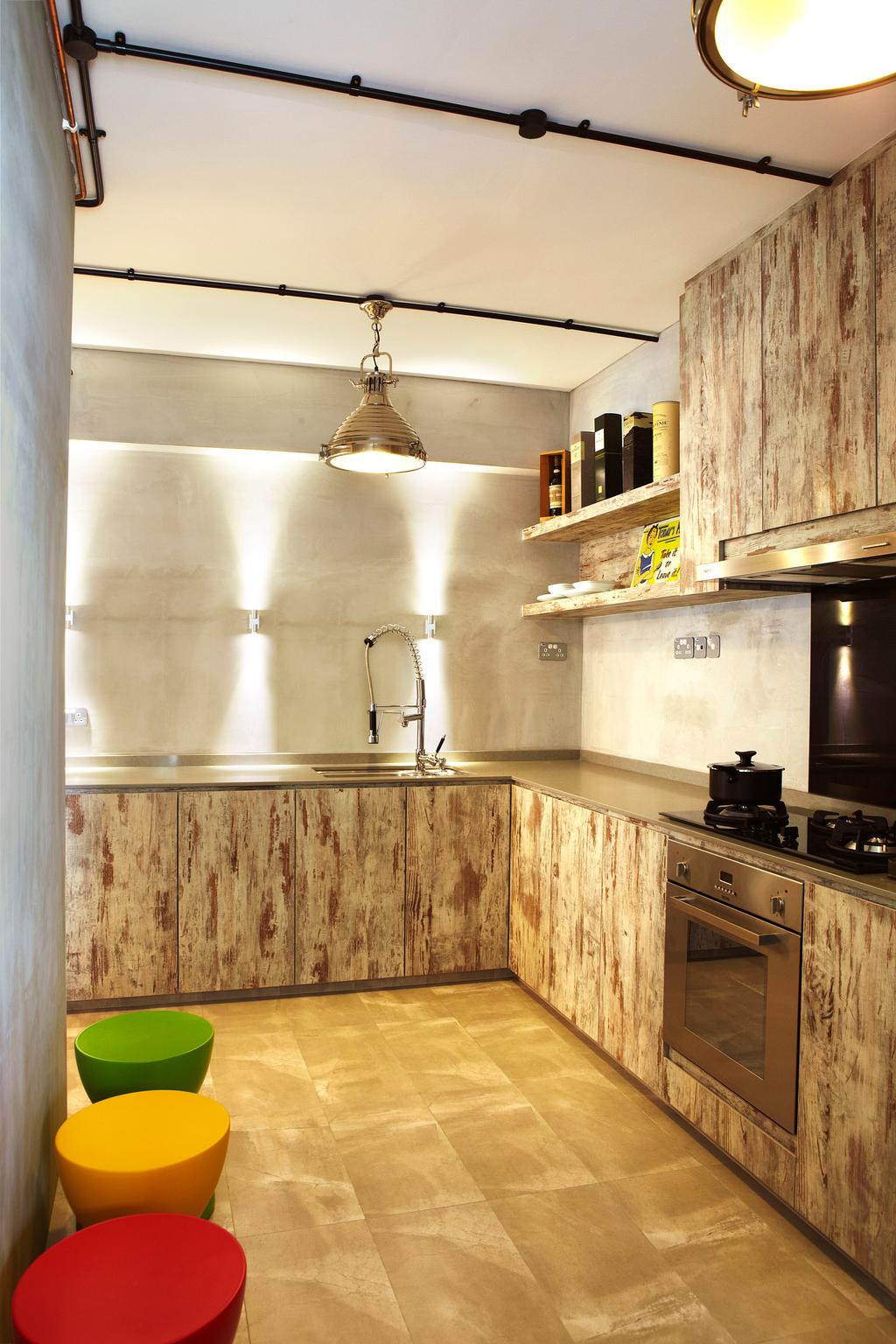Industrial, HDB, Kitchen, Punggol Way, Interior Designer, DSOD Interior, Contemporary