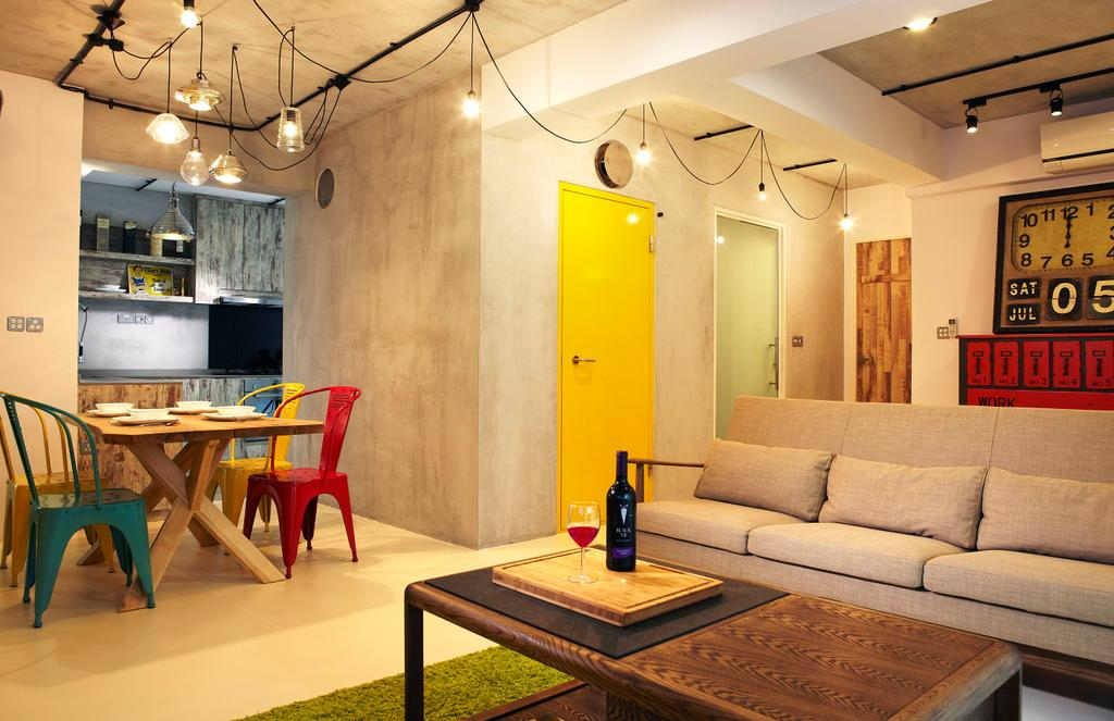 Industrial, HDB, Living Room, Punggol Way, Interior Designer, DSOD Interior, Contemporary