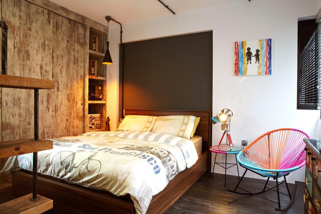 Industrial, HDB, Bedroom, Punggol Way, Interior Designer, DSOD Interior, Contemporary