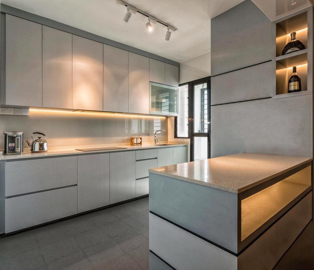 Contemporary, HDB, Kitchen, Fernvale Link, Interior Designer, MET Interior