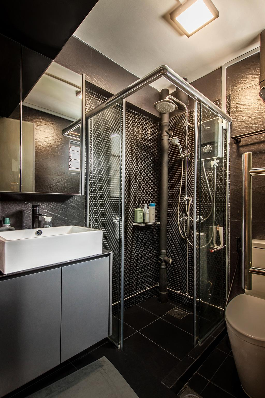 Modern, HDB, Bathroom, Dorset Road, Interior Designer, Space Atelier, Industrial