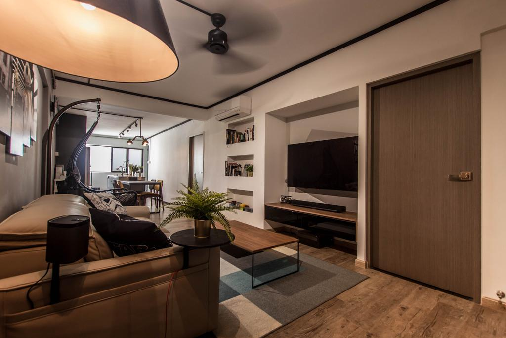 Modern, HDB, Living Room, Dorset Road, Interior Designer, Space Atelier, Industrial