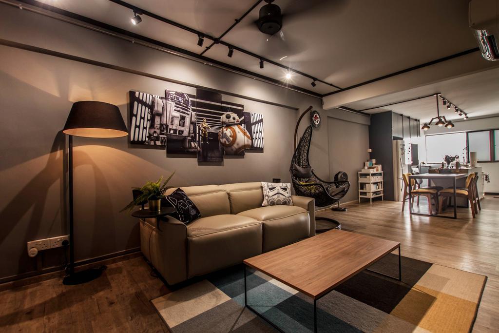 Modern, HDB, Living Room, Dorset Road, Interior Designer, Space Atelier, Industrial