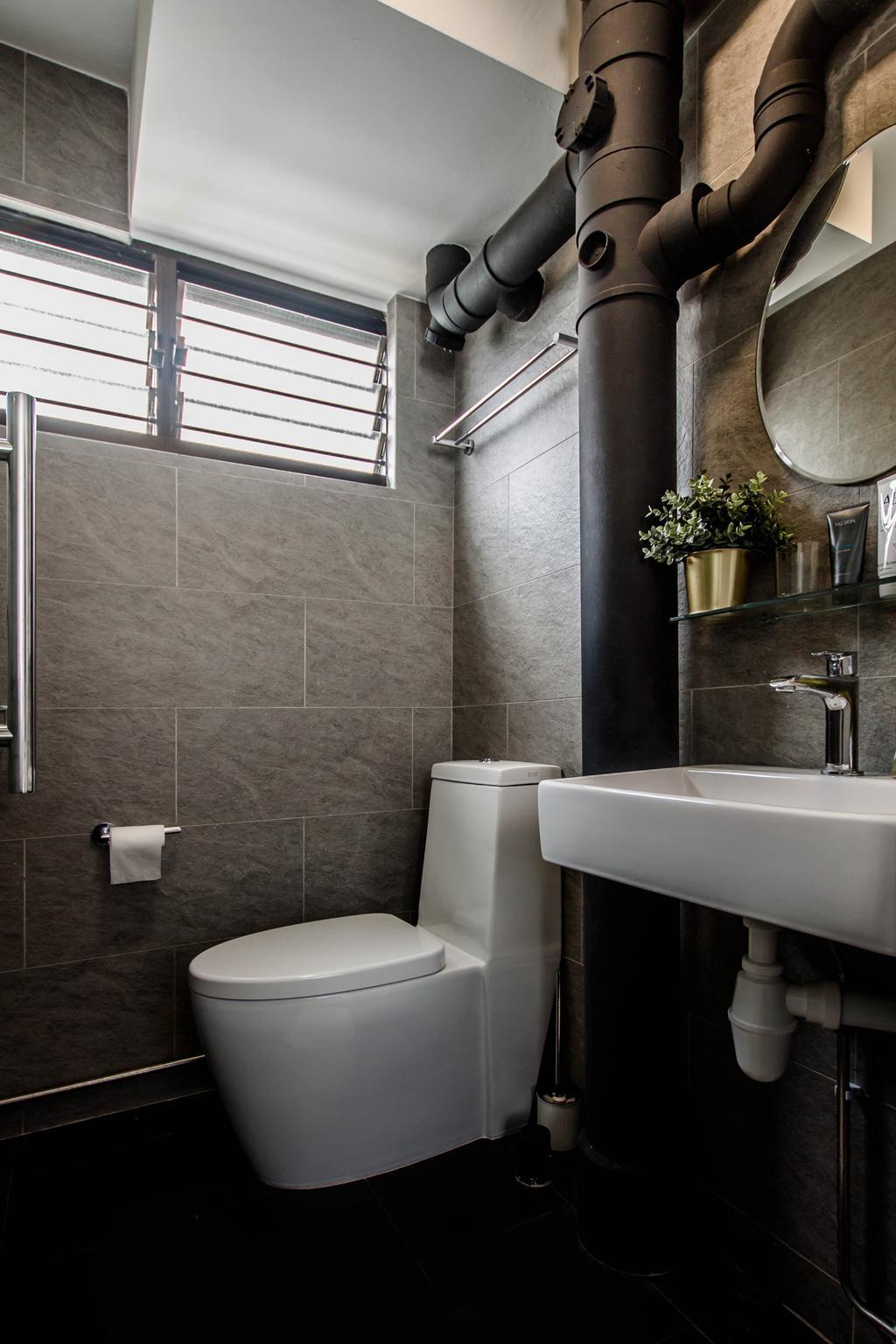 Modern, HDB, Bathroom, Dorset Road, Interior Designer, Space Atelier, Industrial
