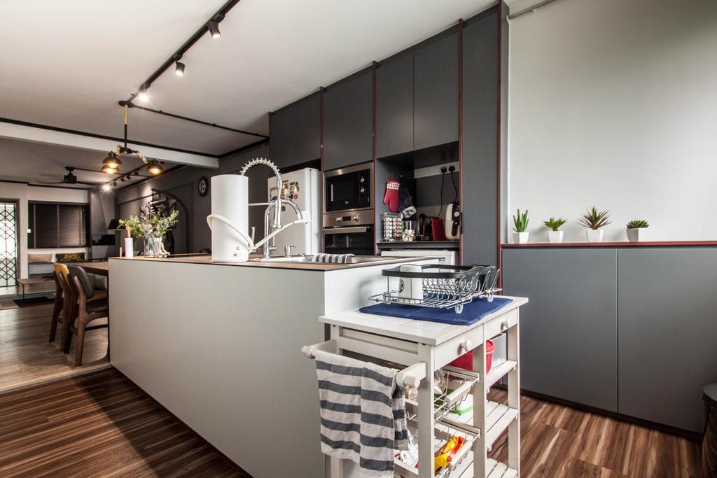 Modern, HDB, Kitchen, Dorset Road, Interior Designer, Space Atelier, Industrial, Kitchen Island