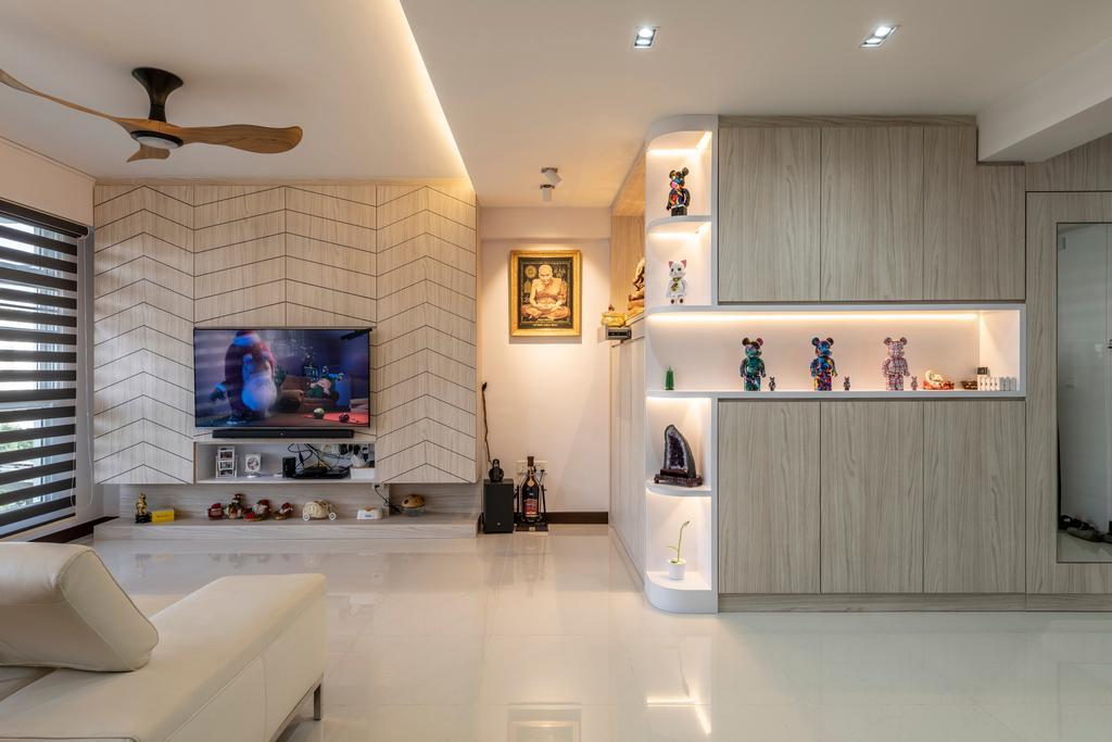 Contemporary, HDB, Living Room, Compassvale Crescent, Interior Designer, Butler Interior