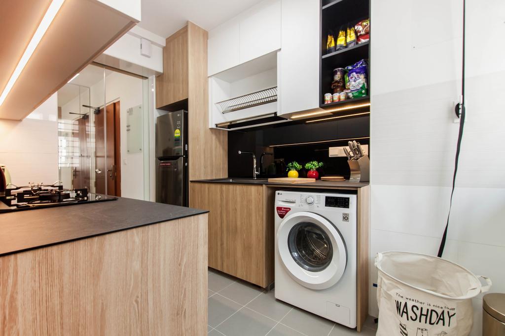 Scandinavian, HDB, Kitchen, Yishun Avenue 4, Interior Designer, Space Atelier, Modern