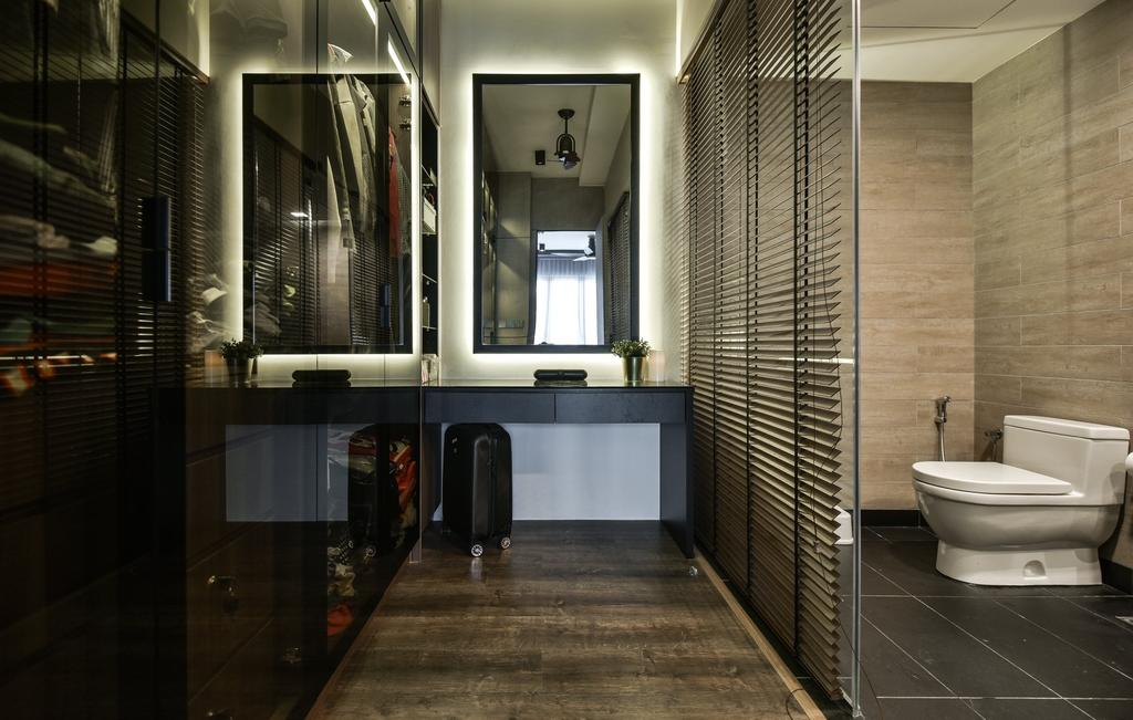 Contemporary, Condo, Bedroom, Anjali Residence, Kuala Lumpur, Interior Designer, IQI Concept Interior Design & Renovation, Walk In Wardrobe, Wardrobe, Dresser, Ensuite