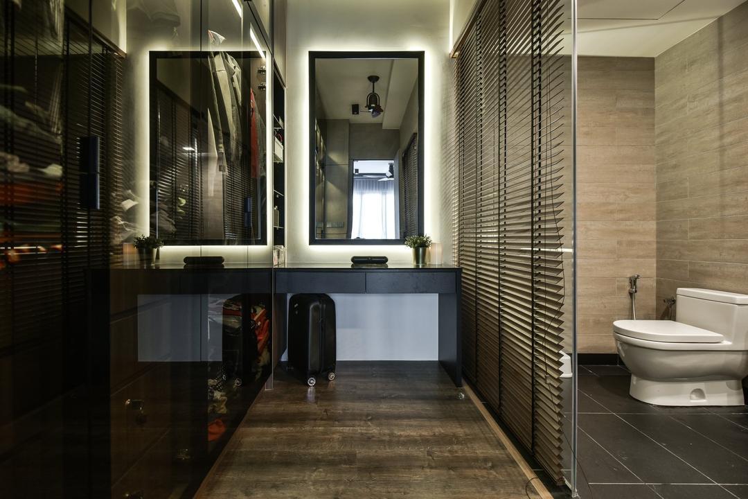 Anjali Residence, Kuala Lumpur, IQI Concept Interior Design & Renovation, Contemporary, Bedroom, Condo, Walk In Wardrobe, Wardrobe, Dresser, Ensuite