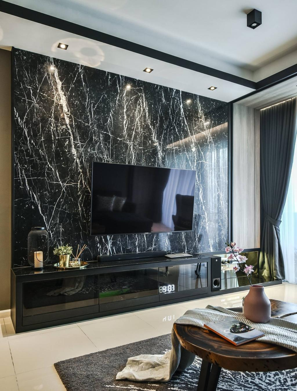 Contemporary, Condo, Living Room, Anjali Residence, Kuala Lumpur, Interior Designer, IQI Concept Interior Design & Renovation, Feature Wall, Marble Wall