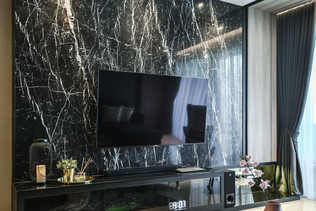 Anjali Residence, Kuala Lumpur, IQI Concept Interior Design & Renovation, Contemporary, Living Room, Condo, Feature Wall, Marble Wall