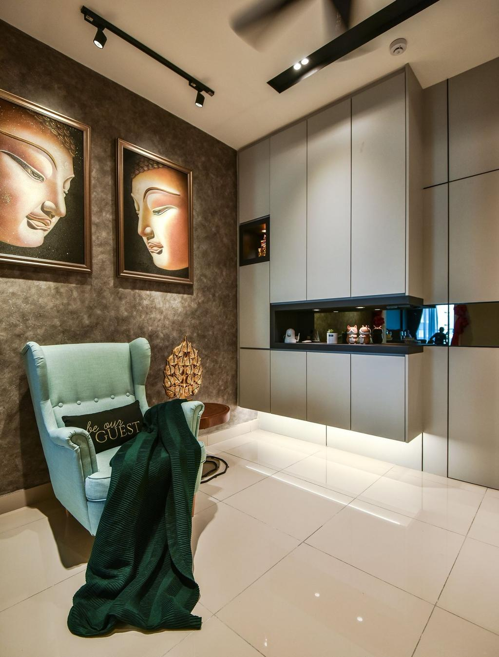 Contemporary, Condo, Living Room, Anjali Residence, Kuala Lumpur, Interior Designer, IQI Concept Interior Design & Renovation, Foyer, Entrance, Shoe Cabinet