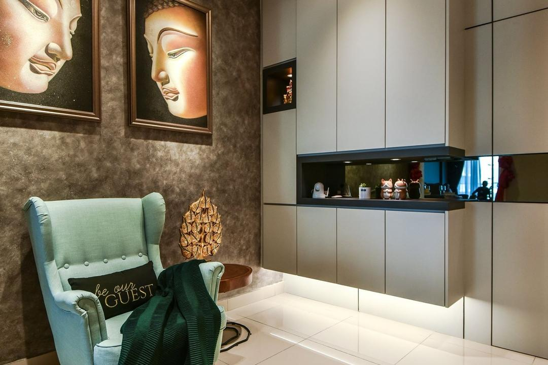 Anjali Residence, Kuala Lumpur, IQI Concept Interior Design & Renovation, Contemporary, Living Room, Condo, Foyer, Entrance, Shoe Cabinet