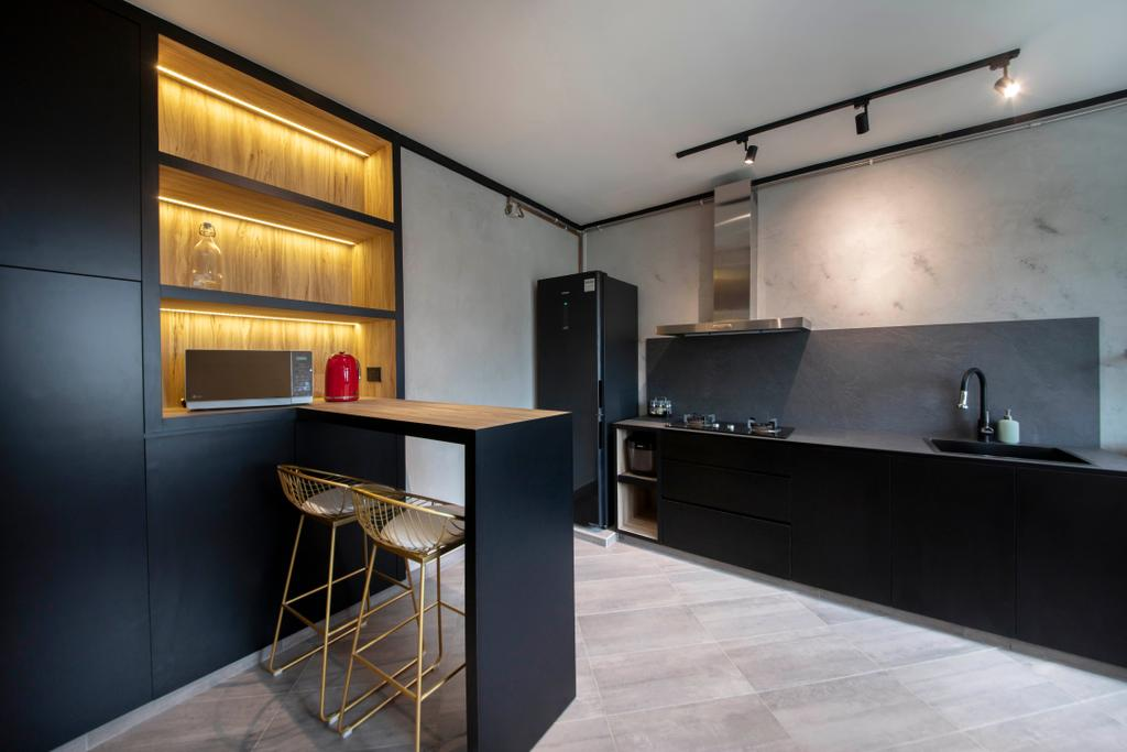 Contemporary, HDB, Kitchen, Rivervale Drive, Interior Designer, ARK-hitecture