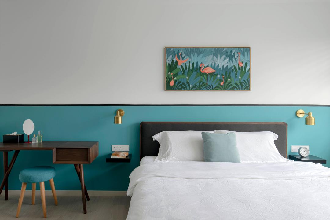 Sumang Lane, Adroit ID, Contemporary, Bedroom, HDB, Turquoise, Blue