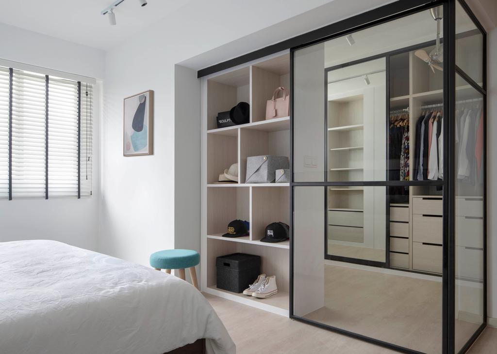 Contemporary, HDB, Bedroom, Sumang Lane, Interior Designer, Adroit ID, Walk In Wardrobe, Wardrobe