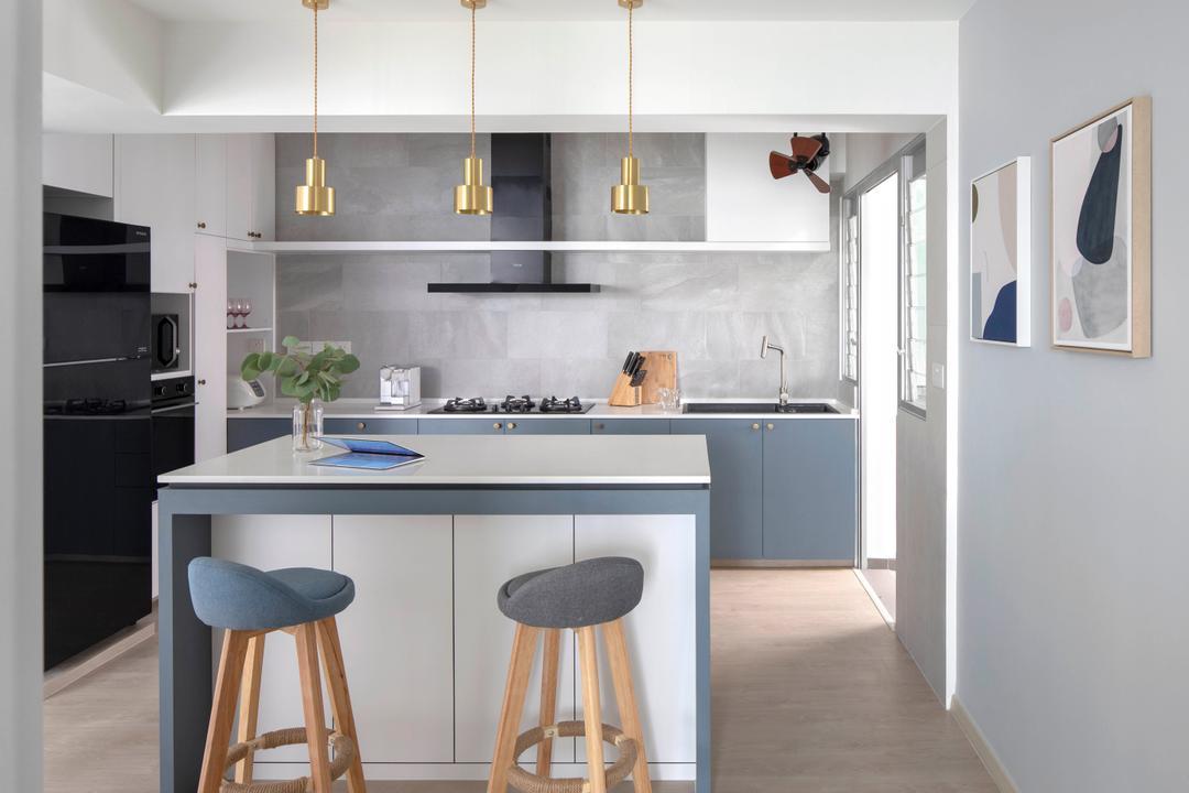 Sumang Lane, Adroit ID, Contemporary, Kitchen, HDB, Kitchen Island, Powder Blue, Blue, Bar Stools, Pendant Lights, Open Kitchen