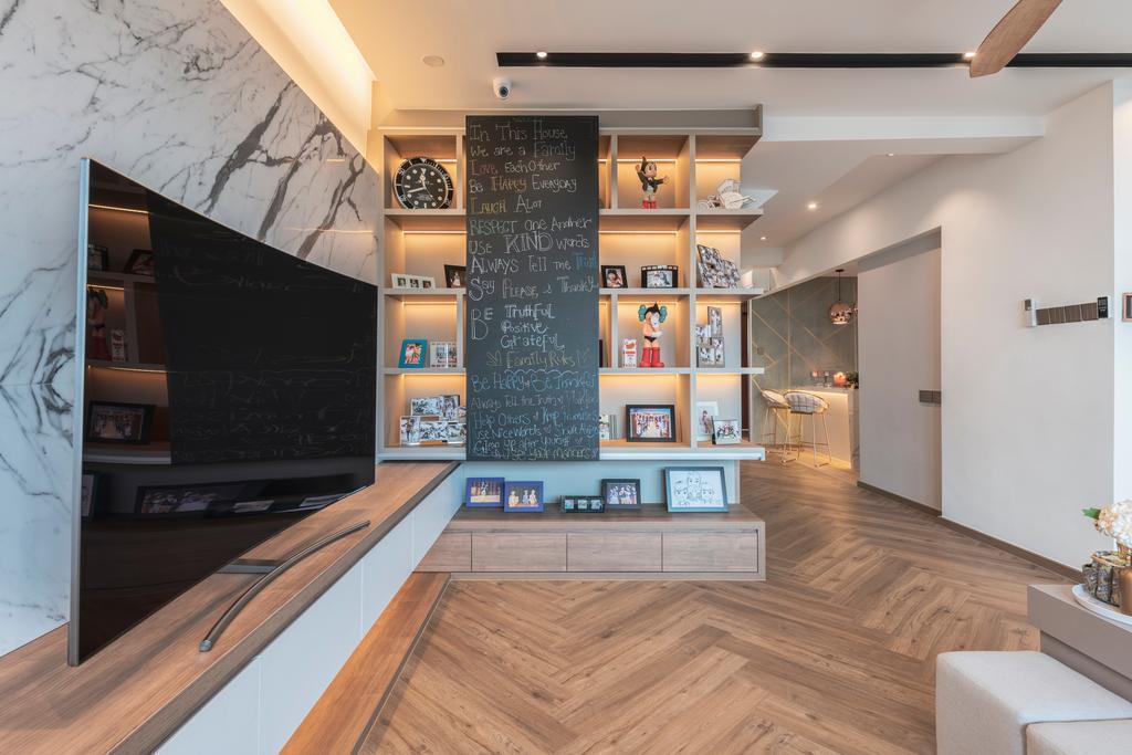 Contemporary, HDB, Living Room, Serangoon North Avenue 1, Interior Designer, Escapade Studios, Wall Storage
