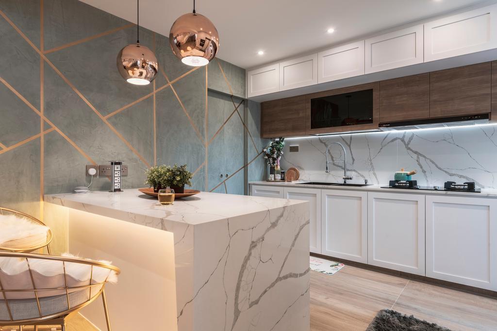 Contemporary, HDB, Kitchen, Serangoon North Avenue 1, Interior Designer, Escapade Studios, Kitchen Island