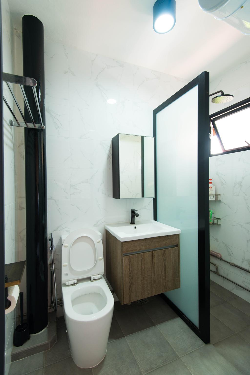 Industrial, HDB, Bathroom, Geylang Lorong 3, Interior Designer, M Squared Dezign, Contemporary