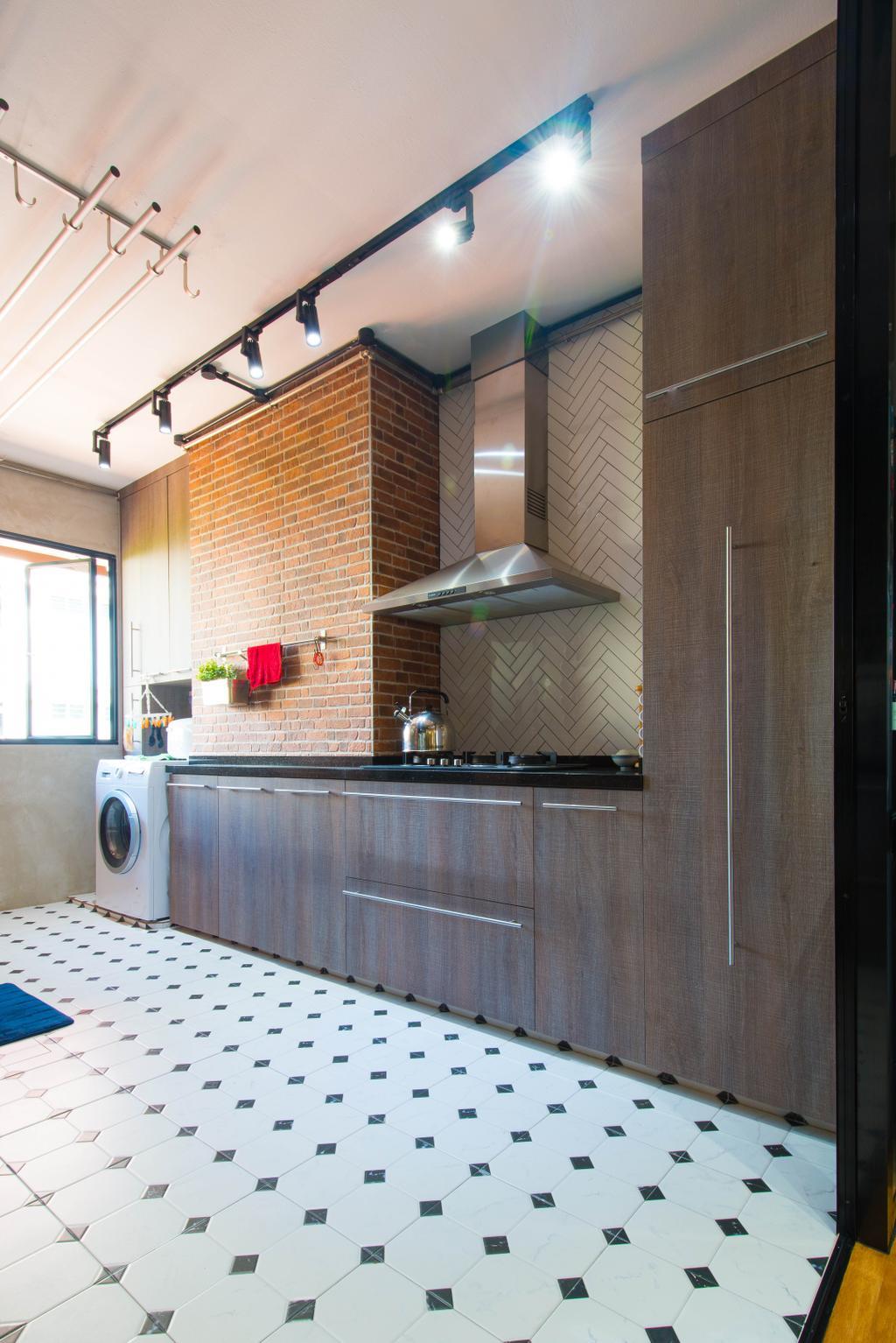 Industrial, HDB, Kitchen, Geylang Lorong 3, Interior Designer, M Squared Dezign, Contemporary