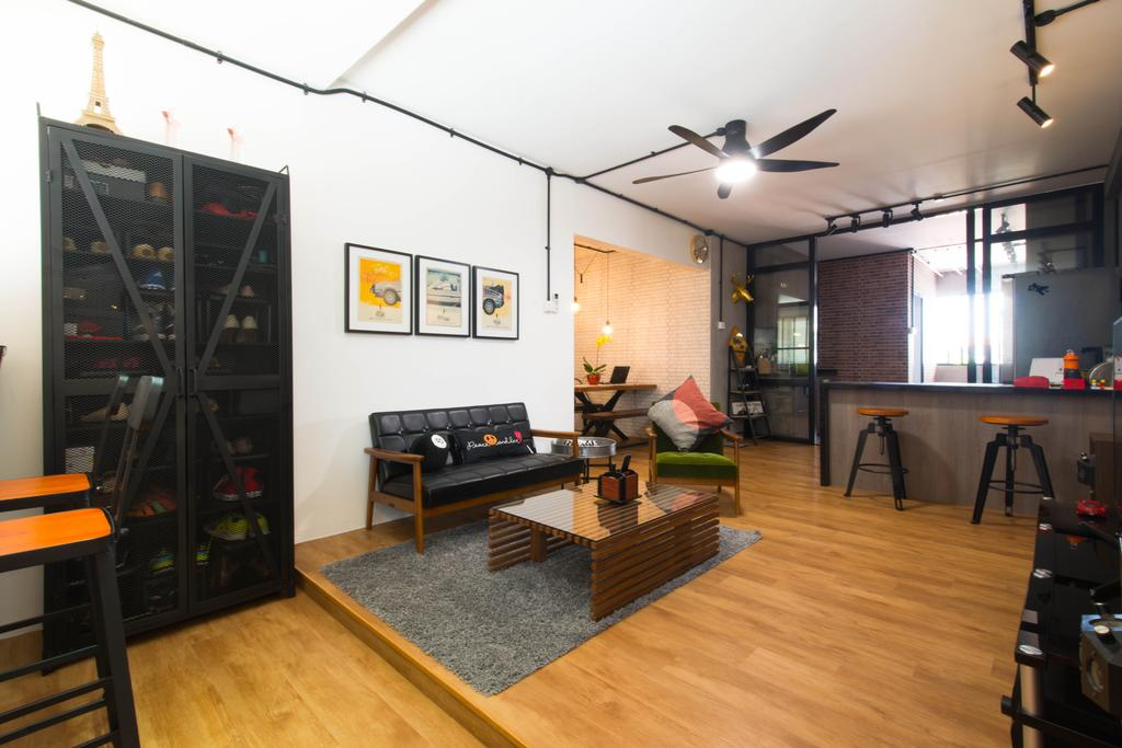 Industrial, HDB, Living Room, Geylang Lorong 3, Interior Designer, M Squared Dezign, Contemporary