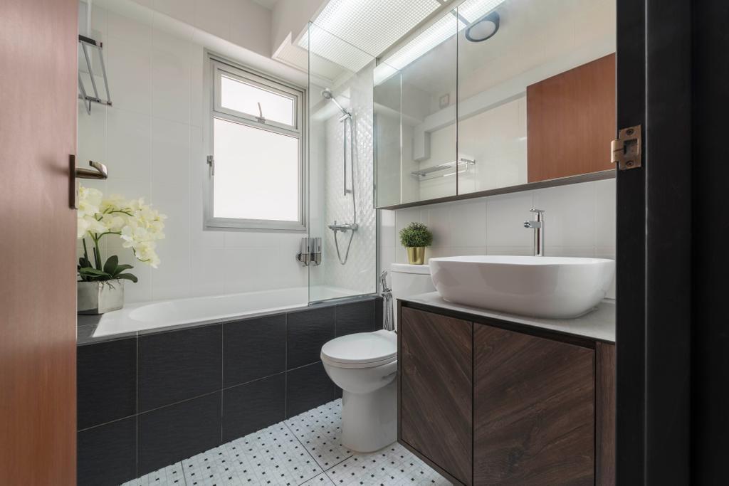 Contemporary, HDB, Bathroom, Bukit Batok East Avenue 6, Interior Designer, Voila, Bath Tub, Bathtub