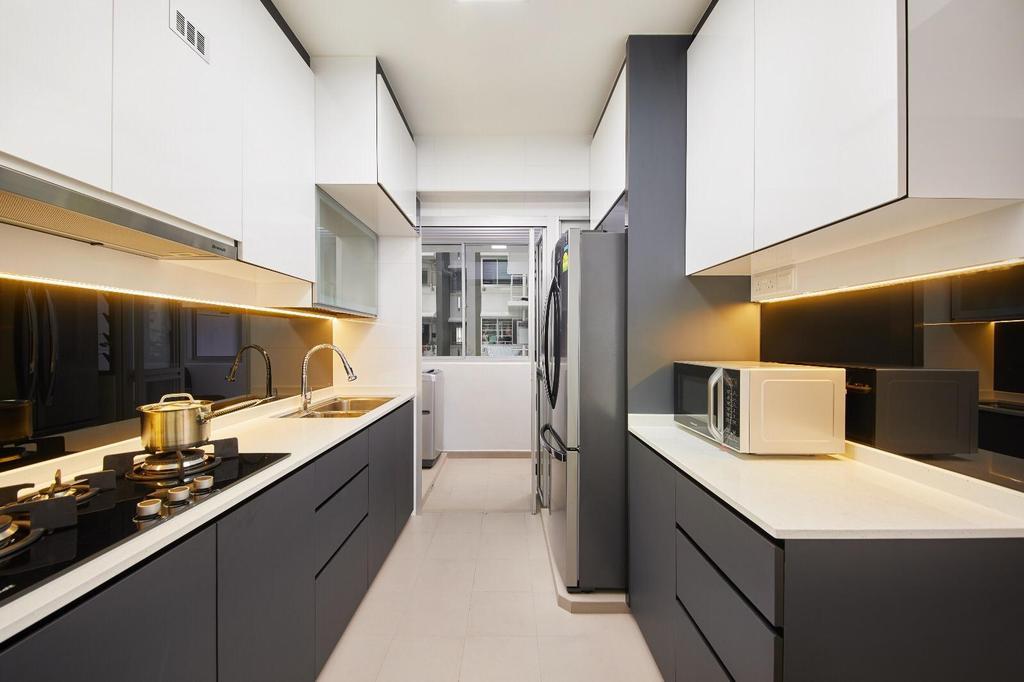 Contemporary, HDB, Kitchen, Corporation Drive, Interior Designer, 96 Designers Group