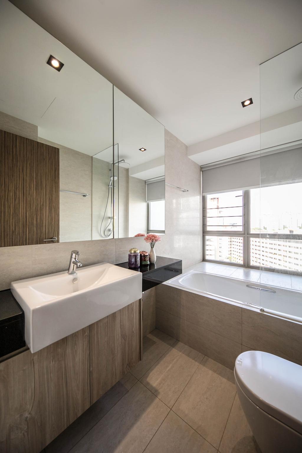 Condo, Bathroom, Trevista, Interior Designer, Space Atelier, Bath Tub, Bathtub