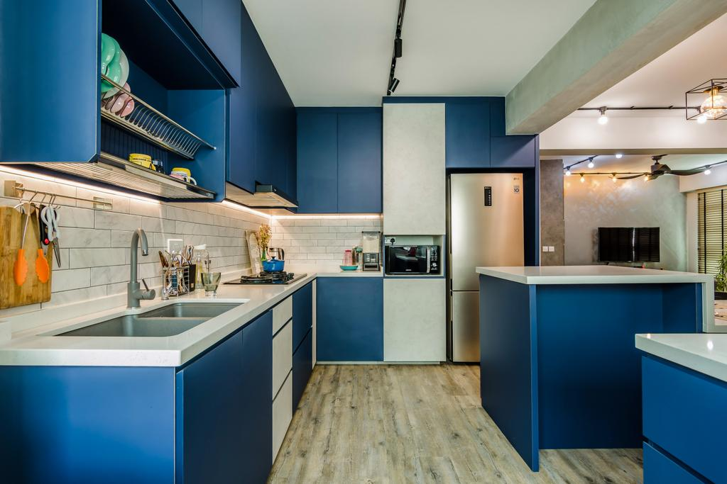 Contemporary, HDB, Kitchen, Yishun Avenue 4, Interior Designer, Dap Atelier, Kitchen Island, Blue