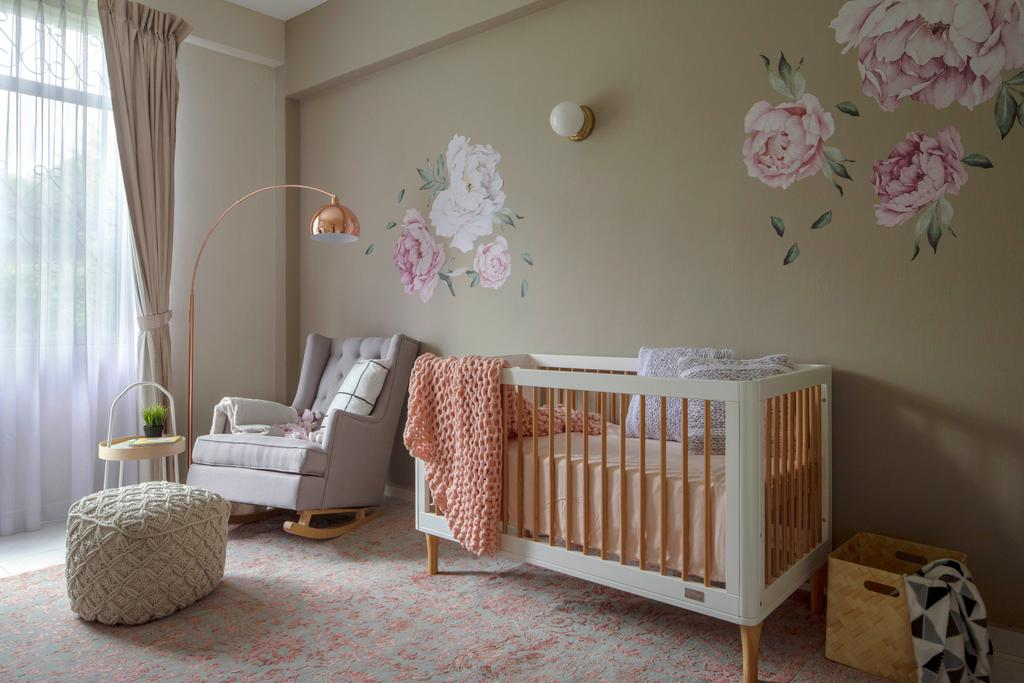 Modern, Condo, Bedroom, The Belmont, Interior Designer, Home Philosophy, Nursery, Cot, Baby, Infant, Wallpaper, Floral