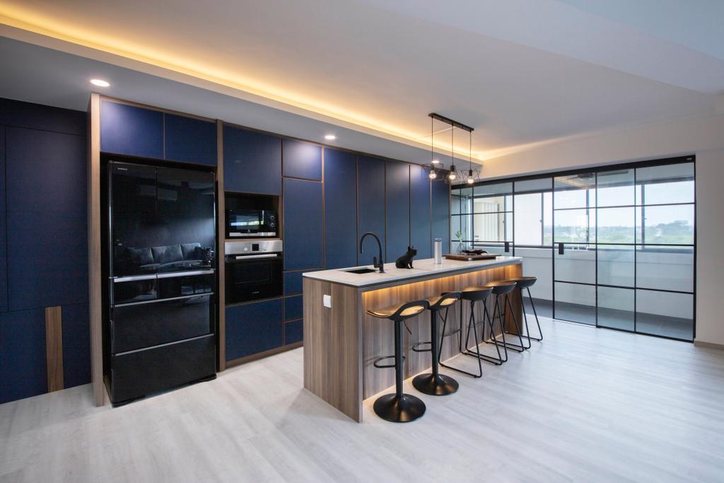 Contemporary, HDB, Hougang Avenue 5, Interior Designer, The Interior Place, Kitchen Island, Open Concept, Open Kitchen, Open Concept Kitchen