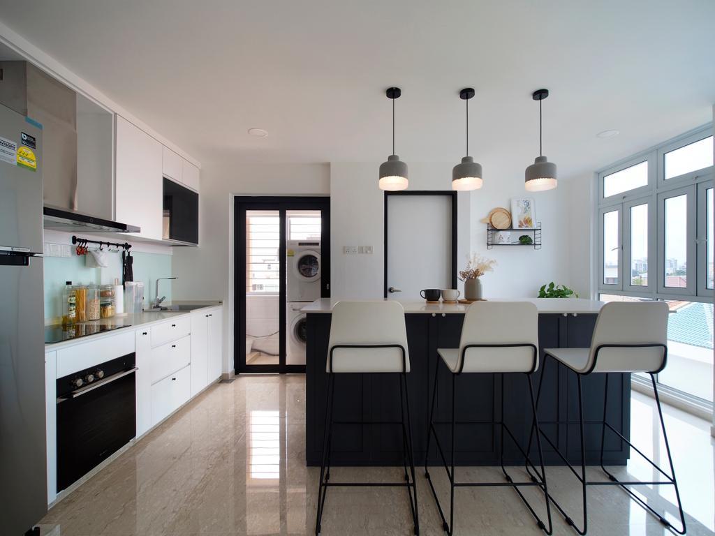 Scandinavian, Condo, Kitchen, Breezy Mansions, Interior Designer, Urban Habitat Design, Kitchen Island, Open Kitchen