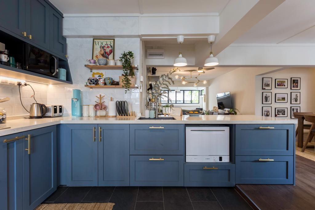 Contemporary, HDB, Kitchen, Shunfu Road, Interior Designer, Charlotte's Carpentry, Blue, Open Kitchen