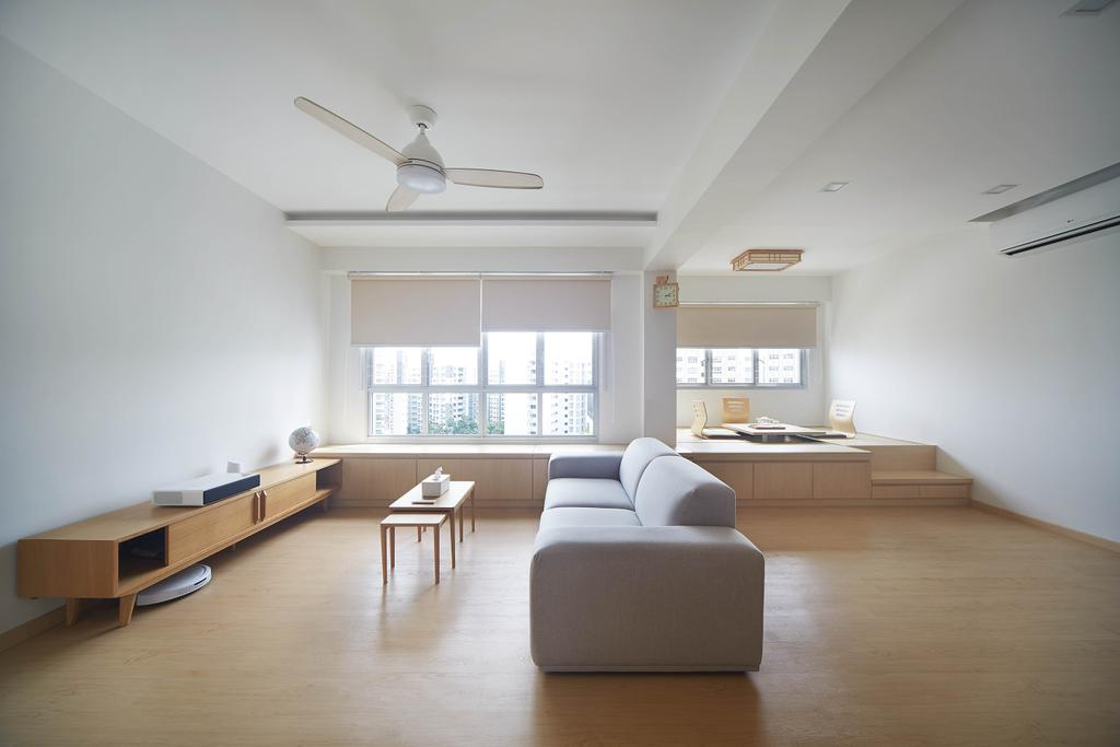 Minimalistic, HDB, Living Room, Yishun Avenue 4, Interior Designer, D5 Studio Image, Window Settee, Platform, Open Concept