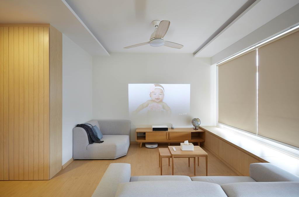 Minimalistic, HDB, Living Room, Yishun Avenue 4, Interior Designer, D5 Studio Image, Home Entertainment, Home Theatre, Projector