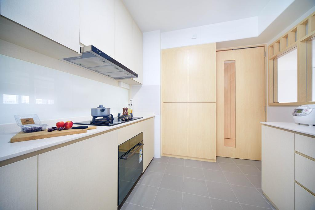 Minimalistic, HDB, Kitchen, Yishun Avenue 4, Interior Designer, D5 Studio Image, Slimline Hood, Oven, White And Wood