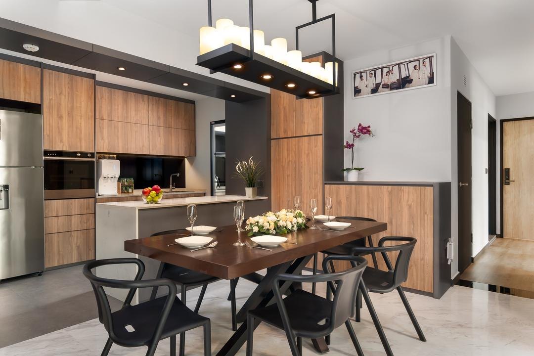 Edgedale Plains, Livinci Interior, Contemporary, Dining Room, HDB, Kitchen Island, Open Kitchen Concept, Open Kitchen