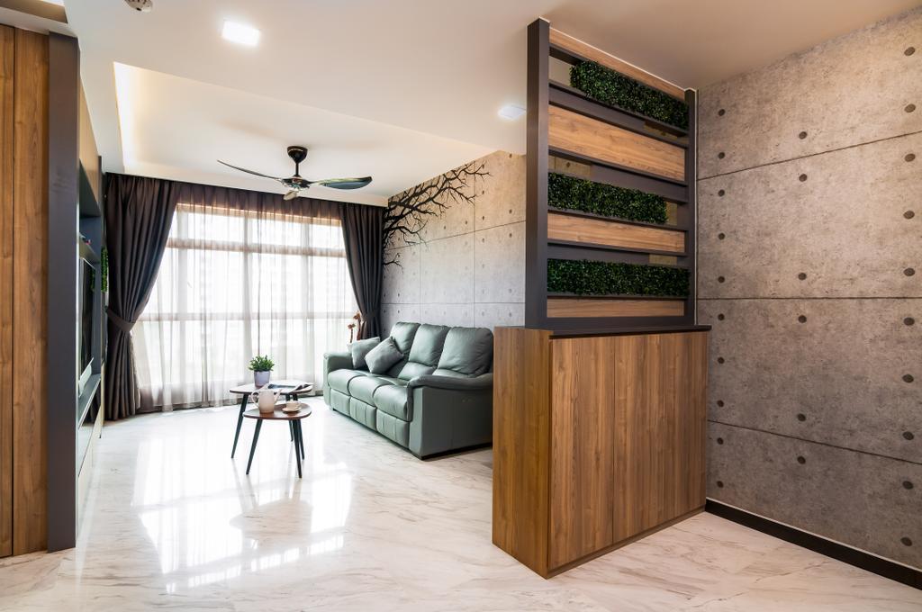 Contemporary, HDB, Living Room, Edgedale Plains, Interior Designer, Livinci Interior, Concrete Panel, Wall Panels