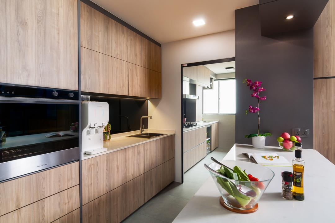 Edgedale Plains, Livinci Interior, Contemporary, Kitchen, HDB, Water Purifier, Island Countertop, Dark Wood