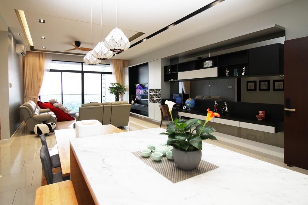 Modern, Apartment, Living Room, Seri Puteri Hill, Puchong, Interior Designer, Interior+ Design Sdn. Bhd., Contemporary
