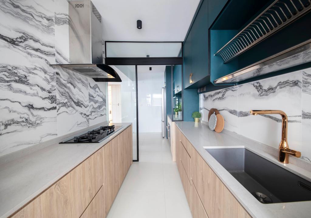 Contemporary, HDB, Kitchen, Punggol Walk, Interior Designer, KDOT, Backsplash, Marble