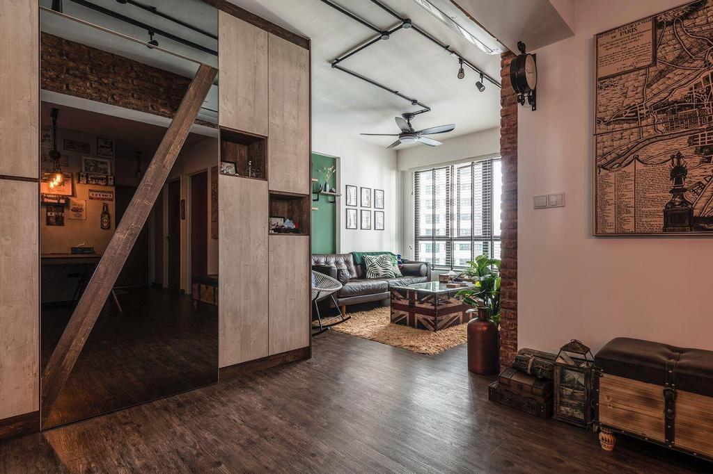 Industrial, HDB, Living Room, Fernvale Link, Interior Designer, Earth Interior Design Pte Ltd