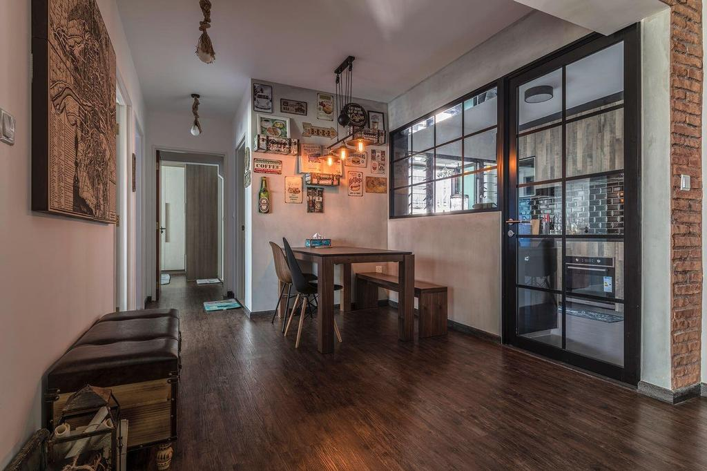 Industrial, HDB, Dining Room, Fernvale Link, Interior Designer, Earth Interior Design Pte Ltd