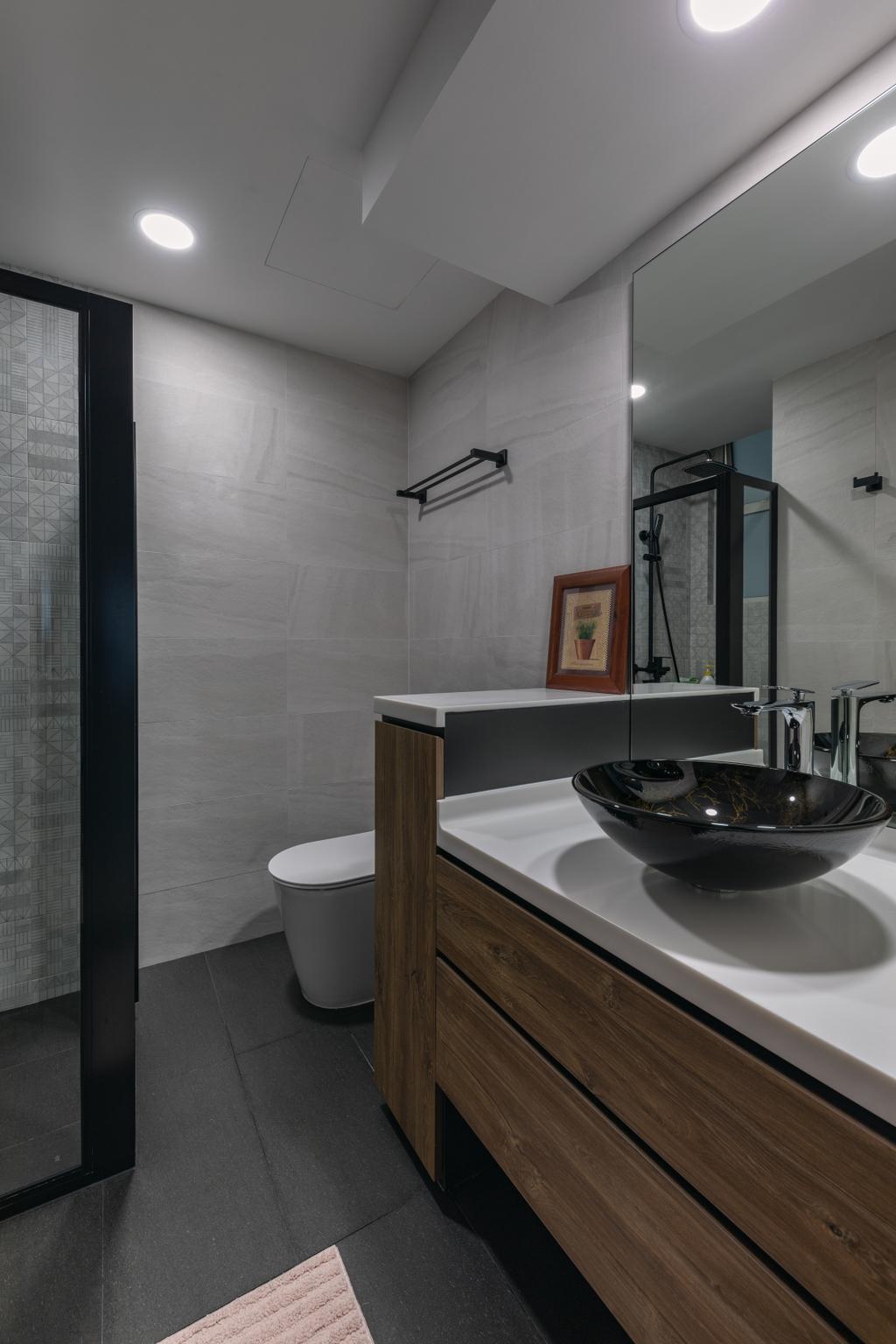 Contemporary, HDB, Bathroom, Woodlands Crescent, Interior Designer, Boewe Design