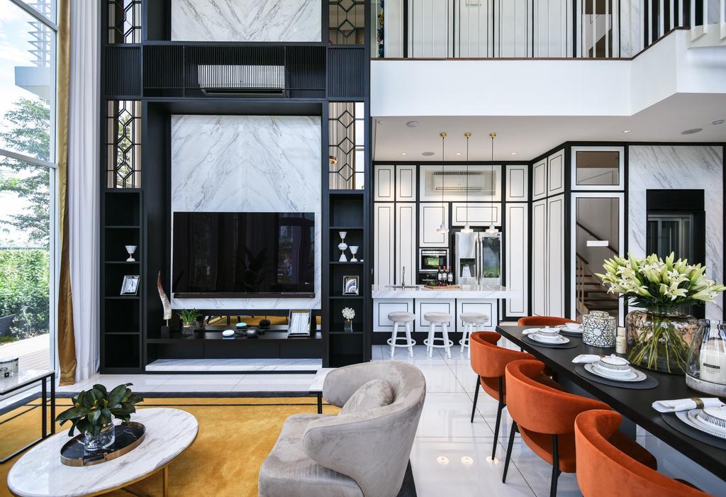 Modern, Condo, Living Room, Viluxe Villa, Pulau Pinang, Interior Designer, SQFT Space Design Management, Contemporary