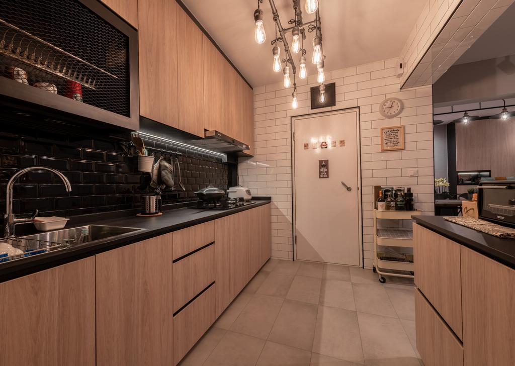 Industrial, HDB, Kitchen, West Ridges, Interior Designer, Earth Interior Design Pte Ltd, Modern