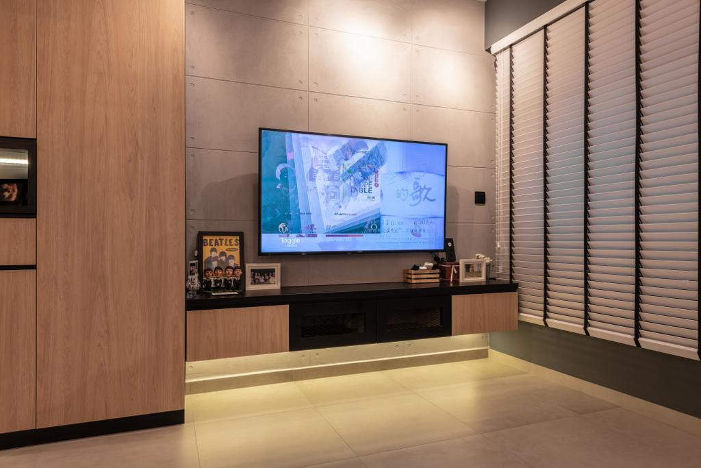 Industrial, HDB, Living Room, West Ridges, Interior Designer, Earth Interior Design Pte Ltd, Modern