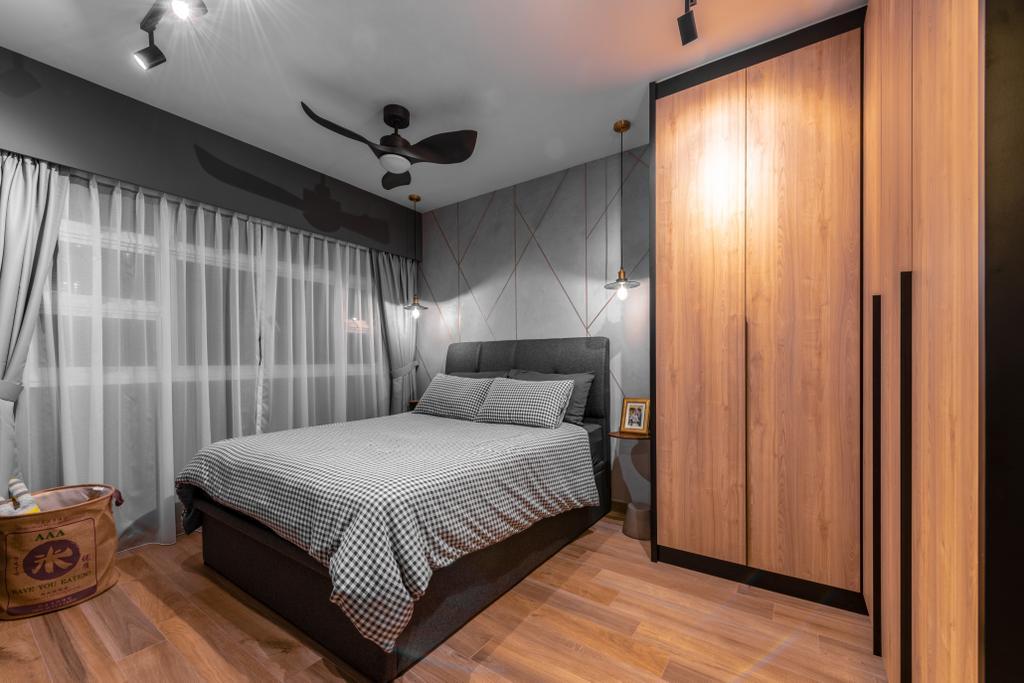 Industrial, HDB, Bedroom, West Ridges, Interior Designer, Earth Interior Design Pte Ltd, Modern